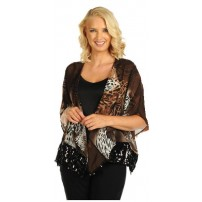 Sheer animal print two piece bolero.