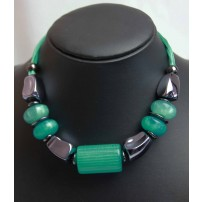 PUNKY B cord necklace with Teal and gunmetal beads...