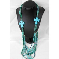 ANDY'N'LOU Turquoise bead cross necklace