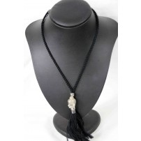ANDY'N LOU Black budha tassle necklace