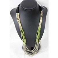 Cream black and olive glass bead necklace