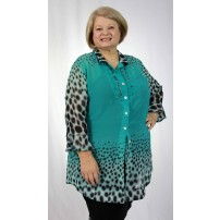 Mint green with animal print sheer shirt