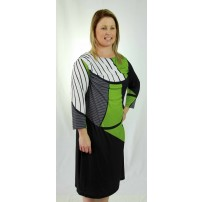 Digital dress in a leaf green, black and white geometric print