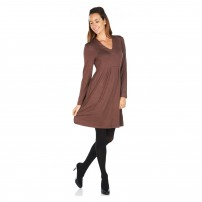 V neck long sleeve mocha jersey dress or tunic