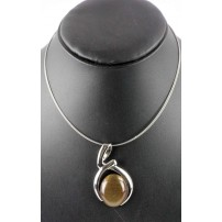 Large brown oval cats eye pendant on wire.