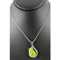 Punky B lime tear drop cats eye pendant on silver ...