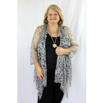 Silver lace draped jacket.