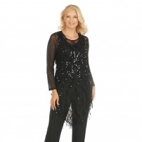 Black sequined double layer evening top.