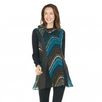 Double layered teal print tunic.
