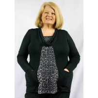 Cowl neck animal print panel tunic with pockets.