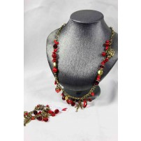PUNKY B shades of red and brass metal bead charm n...